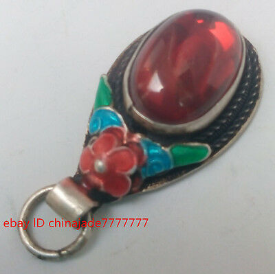 China old Tibet-silver handwork inlay Red Zircon cloisonne red flower pendant