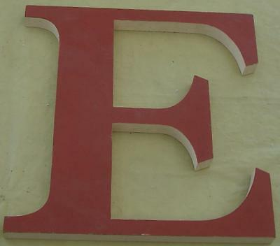 """Vintage Wooden Letter """"E"""" - Painted White Red - GREAT DECORATIVE PIECE - VGC"""
