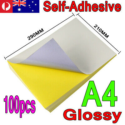 100 x A4 White Glossy Self Adhesive Sticker Paper Sheet Label Laser Inkjet Print