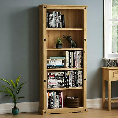 Corona Tall Bookcase Large Display Unit Solid Mexican Pine Wood By Home Discount