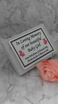 Personalised Solid White Marble Memorial Grave Plaque Stone Baby Boy Girl Name