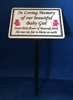 Memorial Marker Grave Plaque Special Occasion Baby Girl Boy Personalised Spike