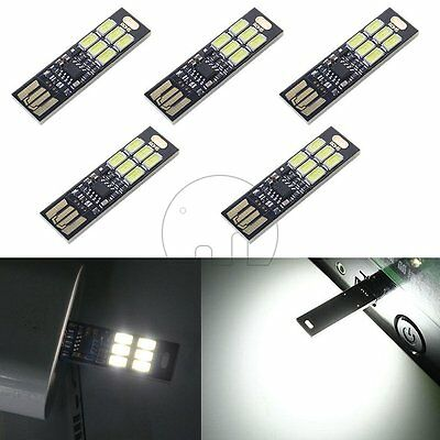 5Pcs Soshine USB Power 6-LED Night Light 1W 5V Touch Dimmer White Light
