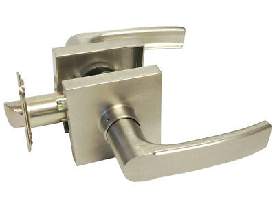 Satin Nickel Square Plate Passage Lever Handle Door HallWay Closet No lock
