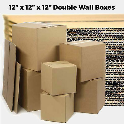 "10 SMALL 12x12x12"" Double Wall Cardboard - Moving House Removal Mailing Boxes"