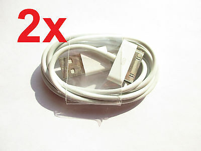 2x USB Ladekabel Datenkabel Kabel Sync Apple iPad 2 iPod iPhone 3G 3GS 4 4S