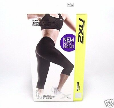 2XU Women's Mid-rise 3/4 Compression Tights XSMALL-Color:Black/Dotted Black Logo