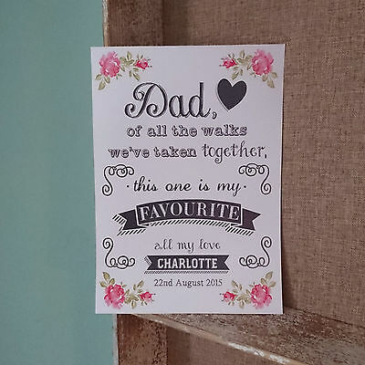 Personalised Dad Of All The Walks Father Of The Bride Vintage Rose Wedding Sign