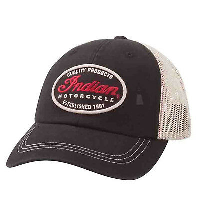 Indian Motorcycle New OEM Unisex Trucker Cap, Universal, Black/White, 2862313