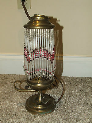 Antique Brass Jeannie Oil Lamp Style Electric Table Lamp with Glass Beaded Shade