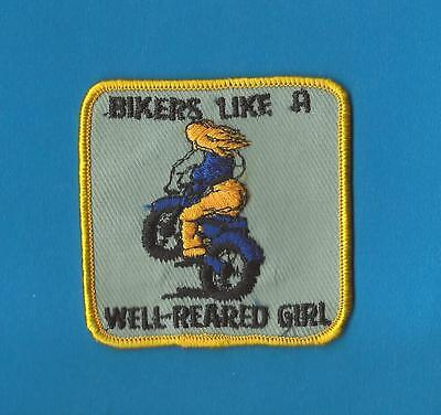 Rare Vintage 1970's Collectable Humours Biker Vest Patch Crest Well Reared Girl