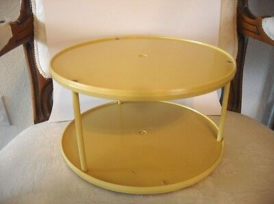 Vtg Gold Butterscotch LAZY-SUSAN Sterlite Plastic Two-Tier Turntable Spices