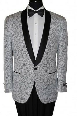 Shawl Colar Paisley Blazer Mens Tuxedo Jacket slim fit By Tazio silver paisley