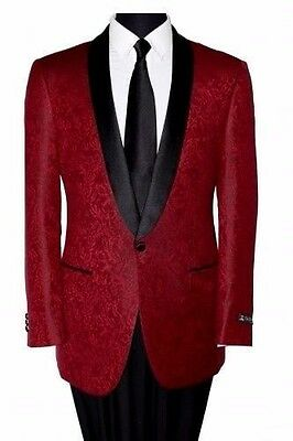 Shawl Colar Paisley Blazer Mens Tuxedo Jacket slim fit By Tazio Burgundy Elegant