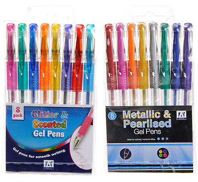 Colour Gel Pens Set Glitter Scented Metallic Ink Ballpoint Craft