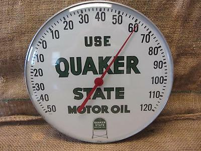 Vintage Quaker State Motor Oil Thermometer Sign > Antique Gas Station 9555