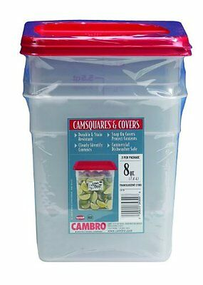 Cambro Set of 2 Square Food Storage Containers with Lids, 8 Quart