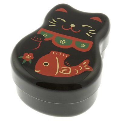 Kotobuki 2-Tiered Bento Box, Maneki Neko Lucky Cat, Black