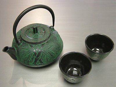 Japanese Cast iron Tea Pot Cup Set Green Bamboo,