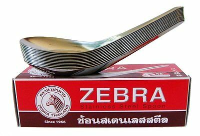 Zebra Spoon Pack of 12 Zebra Thai Chinese Asian Stainless Steel Rice Soup Spo...