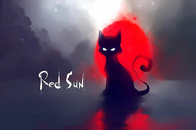 Red Sun Black Cat White Eyes Abstract WALL ART CANVAS FRAMED OR POSTER PRINT