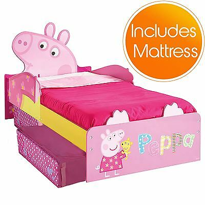 Peppa Pig Mdf Toddler Bed With Storage + Mattress New