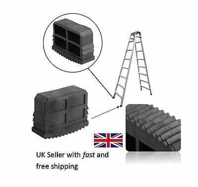 Pair of 61mm X 23mm Black Replacement Ladder Step Ladder Feet Rubber Grip Foot
