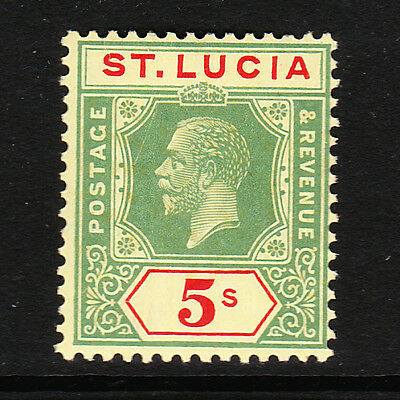 St Lucia 1921-30 5/- Green & Red Sg 105 Mint.