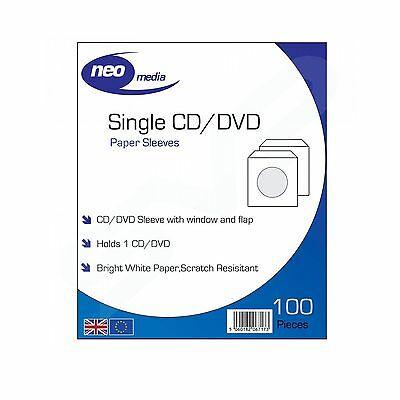 5 x NEO MEDIA PAPER CD/DVD PROTECTIVE SLEEVE / 100 PER PACK