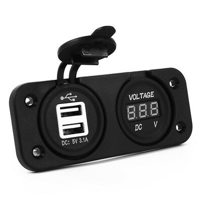 2 in 1 Car Kit Double USB Outlet Socket + Voltmeter Voltage Meter 12V/24V BC552