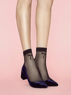 Fiore Chic Patterned Ankle High Socks - Powder Range Bow Anklets