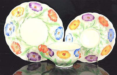 Antique Art Deco Grindley England Flower Trio Solid Flower Handle C.1920-30'S