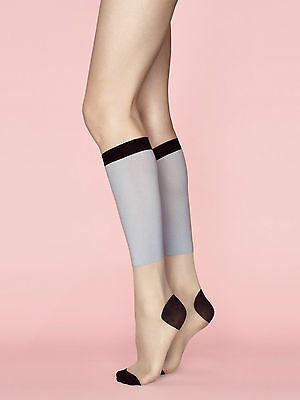 Fiore Game 2  Patterned Knee High Socks Block color Sky Blue Black & Linen Socks