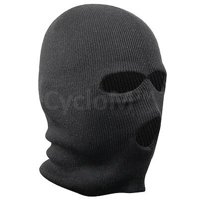 Mask 3 Holes Black Balaclava Winter Sas Style Army Ski Hat Neck Warmer