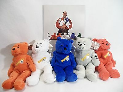 Set Lot 5 Plush Bears Mays Mantle Reggie Jackson's Octobears Promo 1999 w Photo