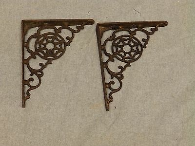 Small Pair Antique Cast Iron Victorian Star Shelf Brackets Vtg Hardware 565-16