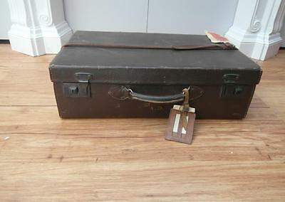 Nice OLD Vintage LEATHER Suitcase TRAVEL Tickets & NEWSPAPER Adelaide qzzq Shop
