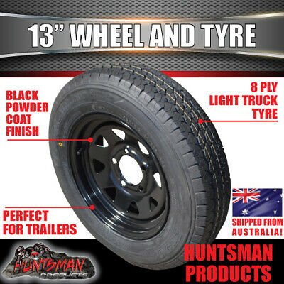 13 x 4.5 155 Sunraysia Ht Holden Wheel Rim and Tyre Black Trailer Caravan Boat