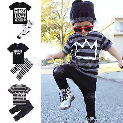 2pcs Toddler Kids Baby Boys Girl Outfits T-shirt Tops+Long Pants Clothes Set 2-7