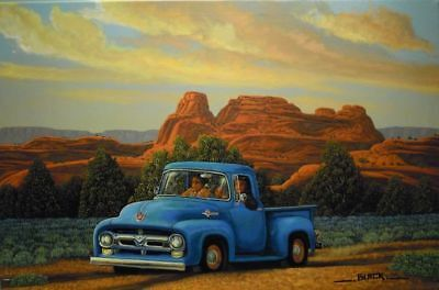 "36 x 24"" Native American NAVAJO~Artist Original Painting old-ford-pickup JCBlack"