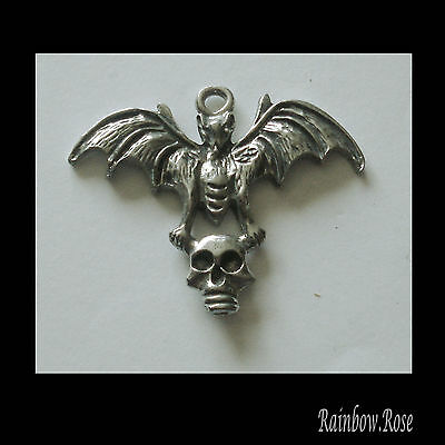 PEWTER CHARM #1000 BAT with SKULL 44mm x 35mm