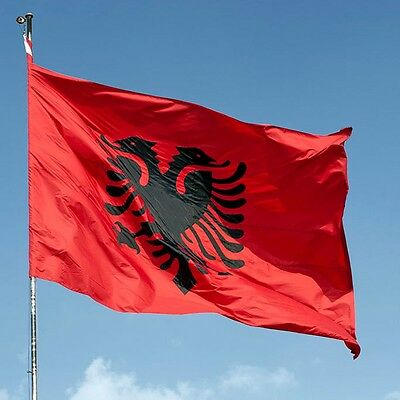 Albania Flag Double Headed Eagle OUTDOOR INDOOR BANNER ALBANIAN Arms 3X5 feet