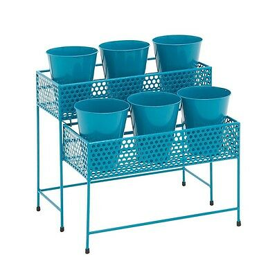 Benzara 28943 Attractive Styled Metal 2 Tier Plant Stand Blue NEW