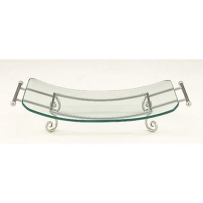 Benzara 68565 Classy Glass Plate Silver Metal Stand NEW