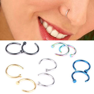 Hot Stainless Steel Nose Open Hoop Ring Earring Body Piercing Studs Jewelry 5pcs