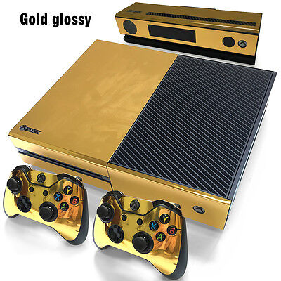 Gold Glossy Decal Skin Sticker for Microsoft Xbox One Console+Controllers