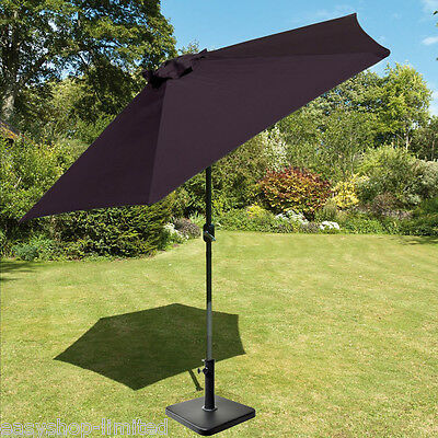 New 2m Aluminum Garden W/ Parasol Base Patio Umbrella Outdoor Canopy Cream/Black