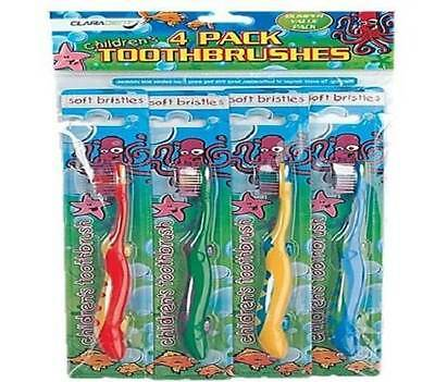 ** 4 X Childrens Toothbrushes Soft Bristle Various Colurs New ** Toothbrush