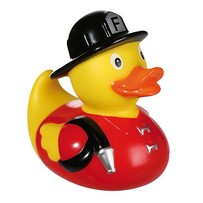 8Cm Squeaking Duck Firefighter Toy Bath Time Fun Gift Kids Baby Floating Novelty