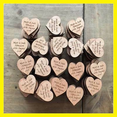 Personalised Wedding Rustic Vintage Wooden Heart Table Decorations Favours